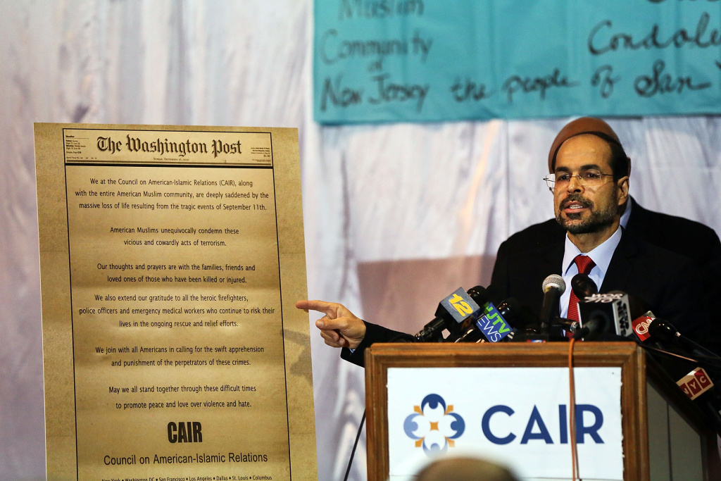 (File photo) Nihad Awad, national executive director of the Council on American-Islamic Relations joins other community religious and political leaders at a news conference to address recent issues involving the New Jersey Muslim community on December 3, 2015 in Jersey City, New Jersey.