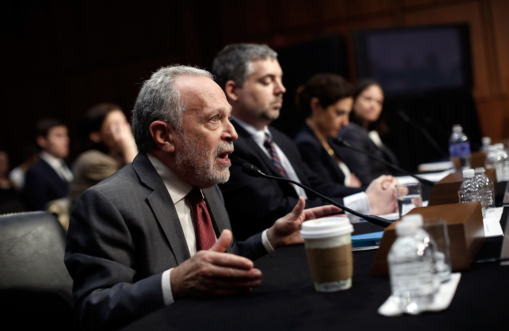 Former U.S. Labor Secretary Robert Reich testifies before the Joint Economic Committee January 16, 2014 in Washington, DC.