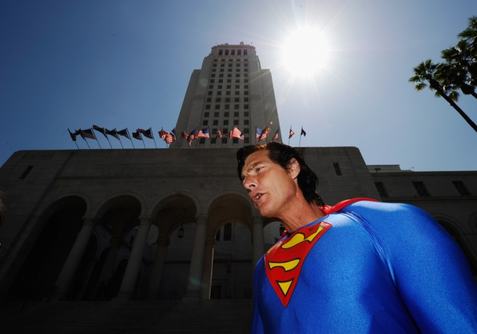 Christopher Dennis wearing a Superman super hero costume protests at the Los Angeles City Hall on Aug. 31, 2010 in Los Angeles. The super hero impersonators were protesting the arrests made by the Los Angeles Police Department of costumed characters along Hollywood Boulevard's Walk of Fame. According to the LAPD, officers received reports of tourists being aggressively solicited by the costumed superheroes, resulting in arrests along Hollywood Boulevard.