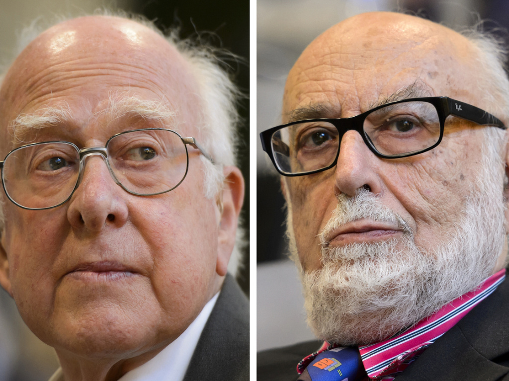 British theoretical physicist Peter Higgs (left) and Belgian theoretical physicist Francois Englert were awarded the Nobel Prize in physics on Tuesday, Oct. 8, 2013.