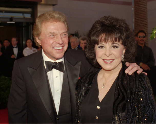 FILE - This Dec. 29, 1957 file photo, shows Eydie Gorme and Steve Lawrence, both 22,  on their wedding day in Las Vegas.