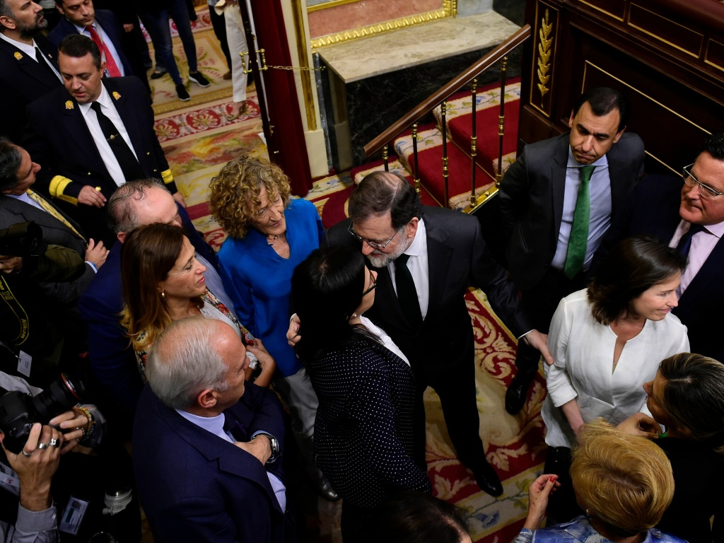 Spanish Prime Minister Mariano Rajoy, center, arrives for a vote on a no-confidence motion at the Lower House of the Spanish Parliament in Madrid on Friday.