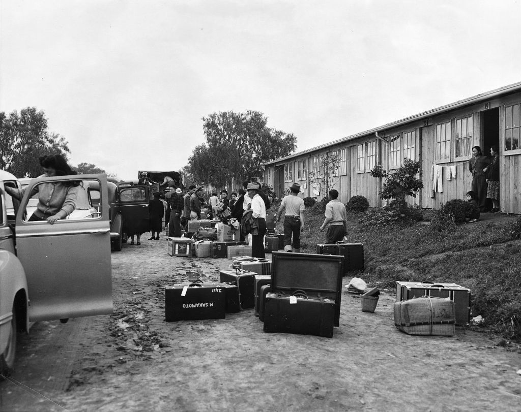 Japanese American internees arriving at Santa Anita Park, 1942. The L.A. County Board of Supevisors voted on Wednesday to repeal a 70-year-old resolution that supported the internment of people of Japanese descent before World War II.