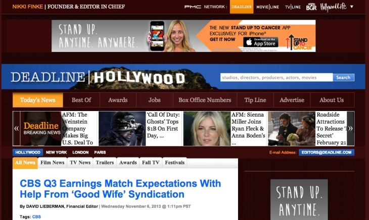A screencap of Deadline.com's home page on Nov. 6, 2013.