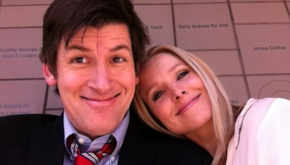 Off-Ramp host John Rabe's selfie with Kristen Bell, star of