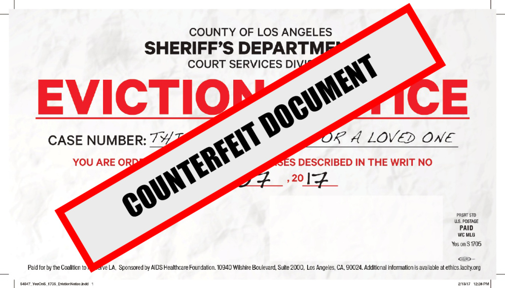 A photo released by the L.A. County Sheriff's Department showing a mailer put out by supporters of Measure S designed to look like an eviction notice.