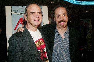 Harvey Pekar (L), shown here with actor Paul Giamatti at the 'American Splendor' film premiere in 2003, died this morning.