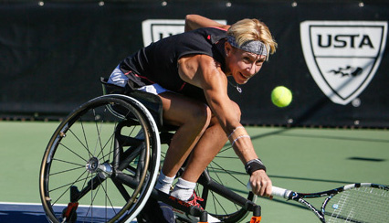 Tennis players David Wagner and Nick Taylor compete in the 2015 UNIQLO Wheelchair Doubles Masters, held in Mission Viejo, California.