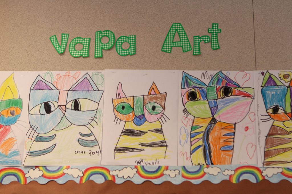 Student artwork is diaplayed at Veterans Elementary School in Chula Vista, California. This year, the school added four visual and performing arts teachers. Many students in the Chula Vista Elementary School District have never had art or music instruction until now.