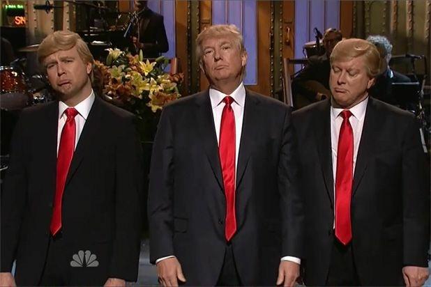 Taran Killam, Donald Trump and Darrell Hammond on SNL last year.