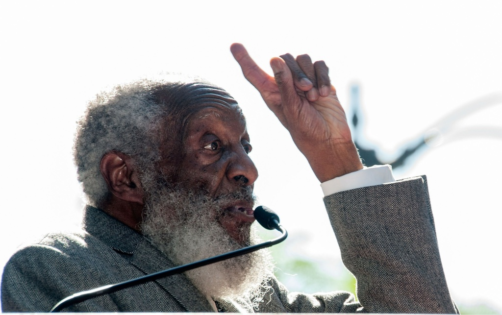 Comedian Dick Gregory attends ceremonies where he is honored with a star on The Hollywood Walk of Fame on February 2, 2015.