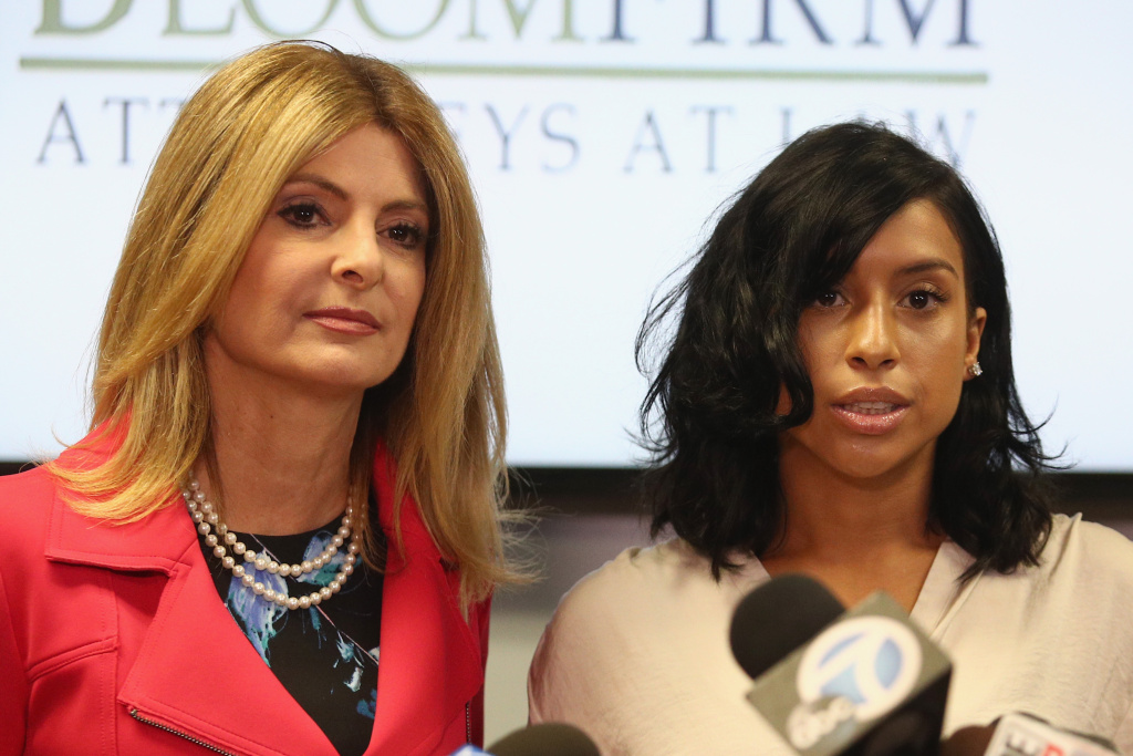 Lisa Bloom (L), lawyer for Montia Sabbag, speaks during a press conference on September 20, 2017. Sabbag was accused of attempting to extort comedian Kevin Hart.