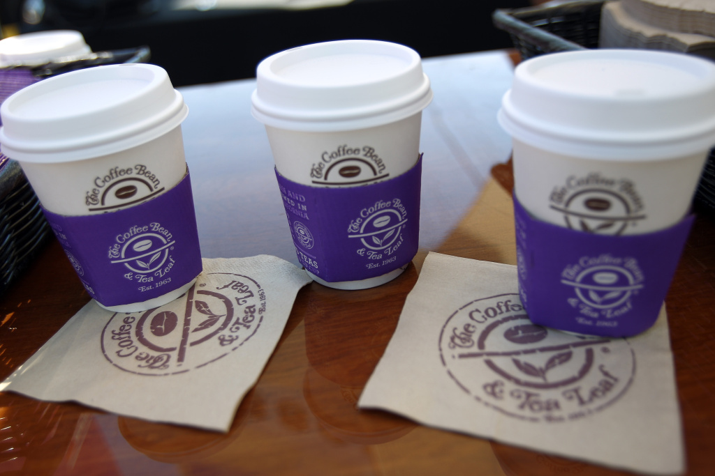 Three Coffee Bean beverages are served at the John Varvatos 13th Annual Stuart House benefit in West Hollywood.