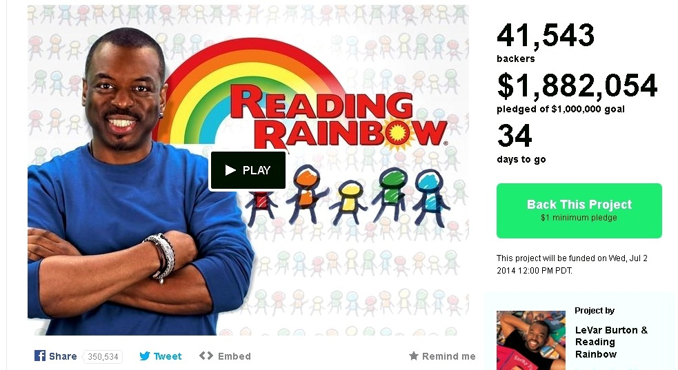 Reading Rainbow/Kickstarter screen grab