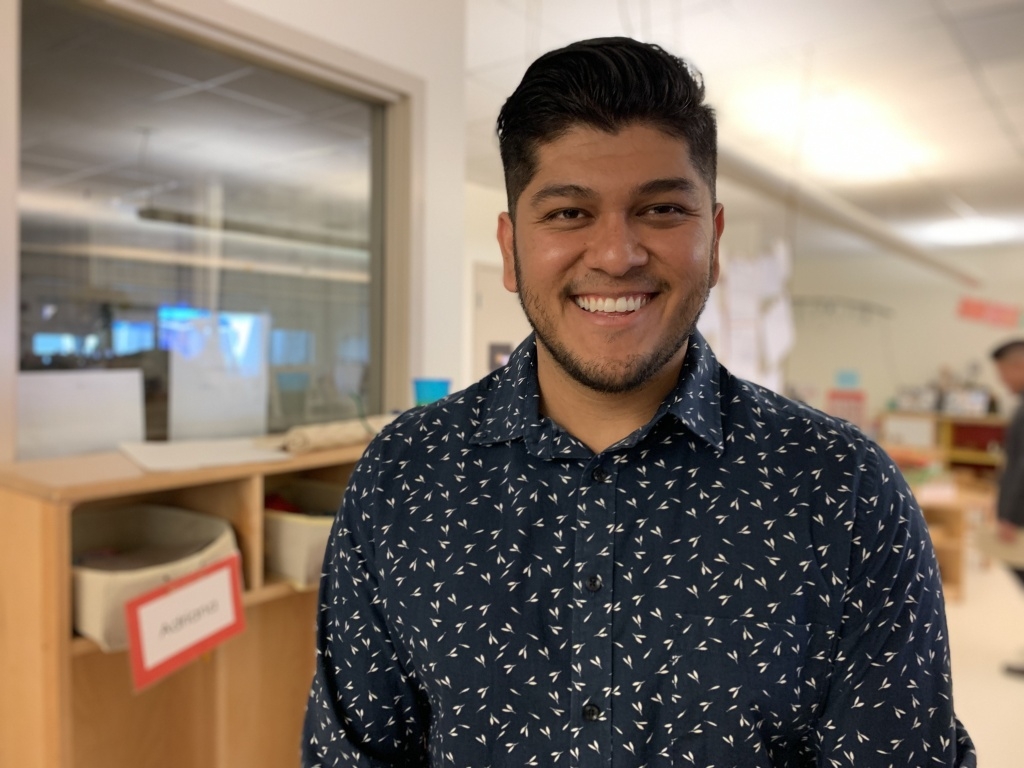 Edwin Cruz, a kindergarten teacher at East Los Angeles College Child Development Center, is the only male educator on staff.