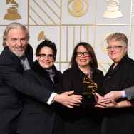 "Composer Laura Karpman (center) poses with the Best Engineered Album, Classical trophy for ""Ask Your Mama"" in the press room during the 58th Annual Grammy Music Awards in Los Angeles on February 15, 2016."