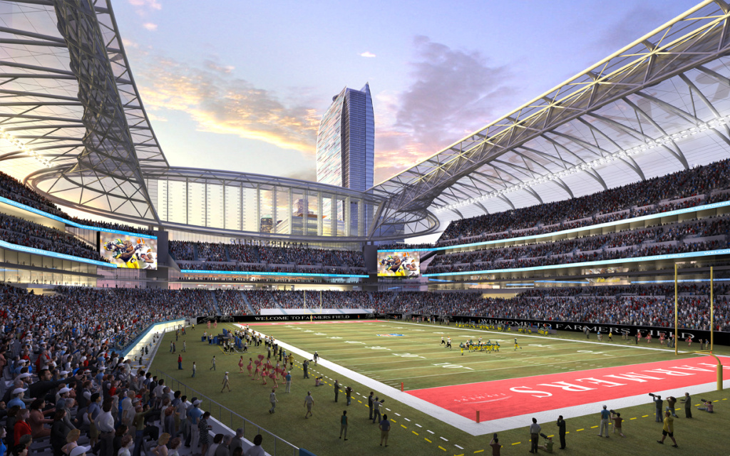 A rendering released by AEG of the proposed football stadium to house a NFL team in L.A. Officials are pushing the project forward, but locals want more time to think about the impact of Farmers Field.