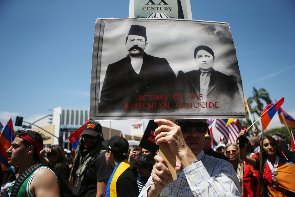 Demonstrators march towards the Turkish Consulate during a march and rally commemorating the 103rd anniversary of the Armenian genocide on April 24, 2018 in Los Angeles, California.