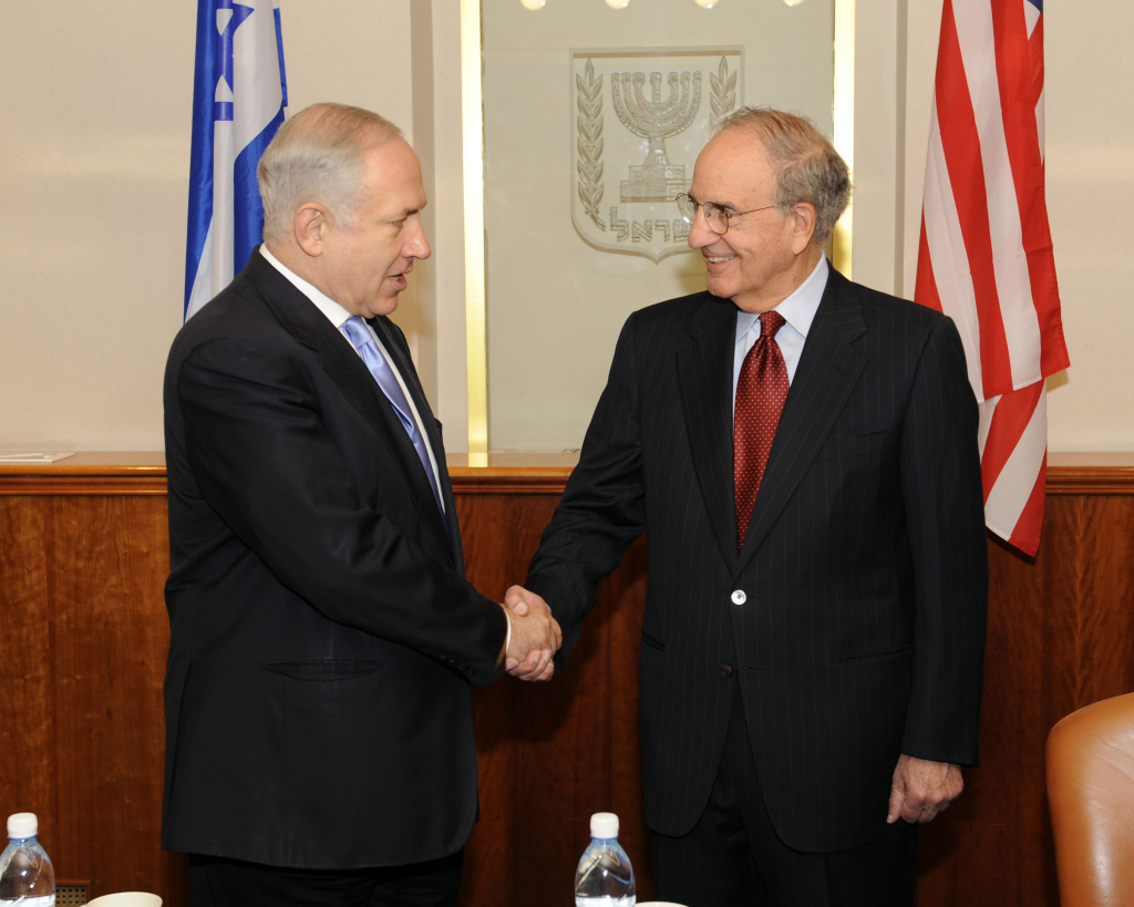 Israeli Prime Minister Benjamin Netanyahu meets with US Middle East envoy, Senator George Mitchell for a weekend of diplomatic peace talks, on October 30, 2009 in Jerusalem, Israel.