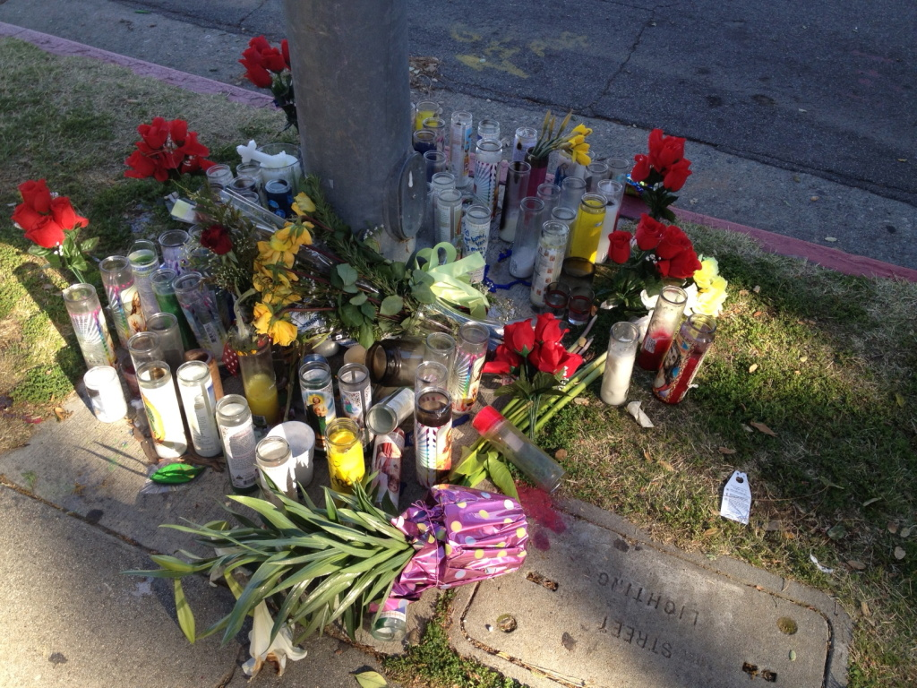 Flowers and votive candles left by family and friends on the Pasadena corner where Kendrec McDade was killed on March 24, 2012.