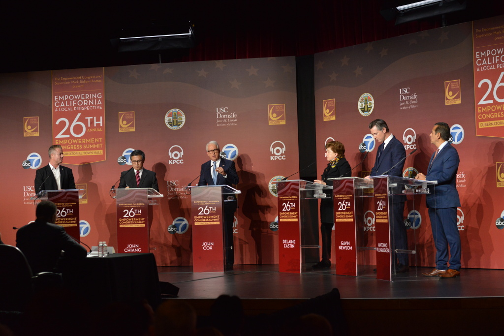 Candidates on stage at the gubernatorial town hall, part of the 26th Annual Empowerment Congress Summit at USC on Jan. 13, 2018.