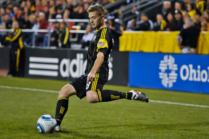Robbie Rogers #18 then of the Columbus Crew controls the ball against the Los Angeles Galaxy on Sept. 24, 2011 at Crew Stadium in Columbus, Ohio.