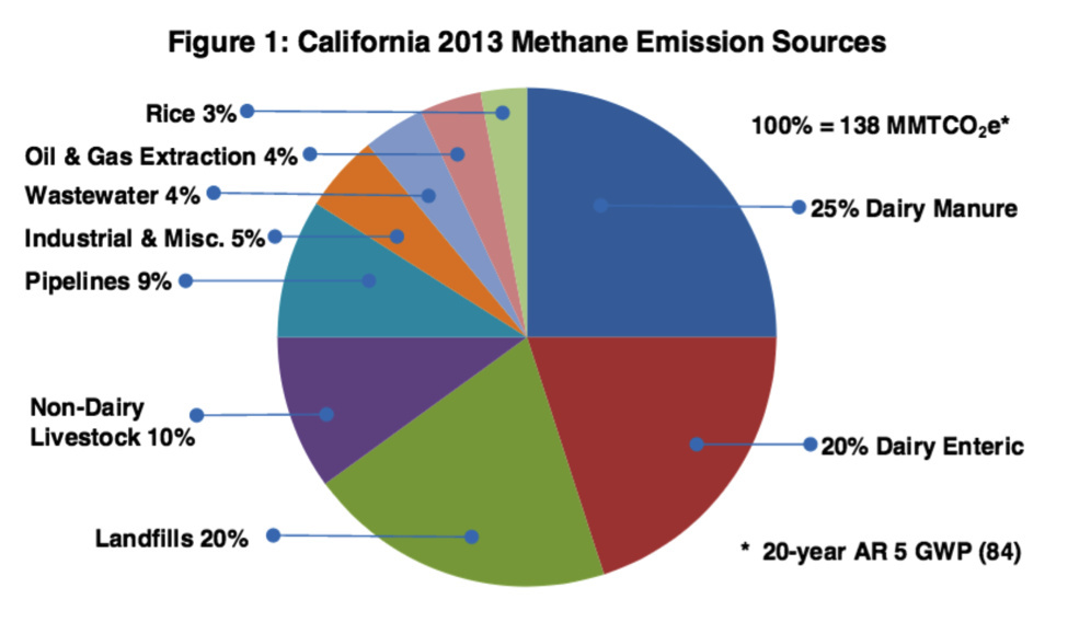 Dairy manure contributes about one-quarter of the methane emissions in California, non-dairy livestock another 10 percent.