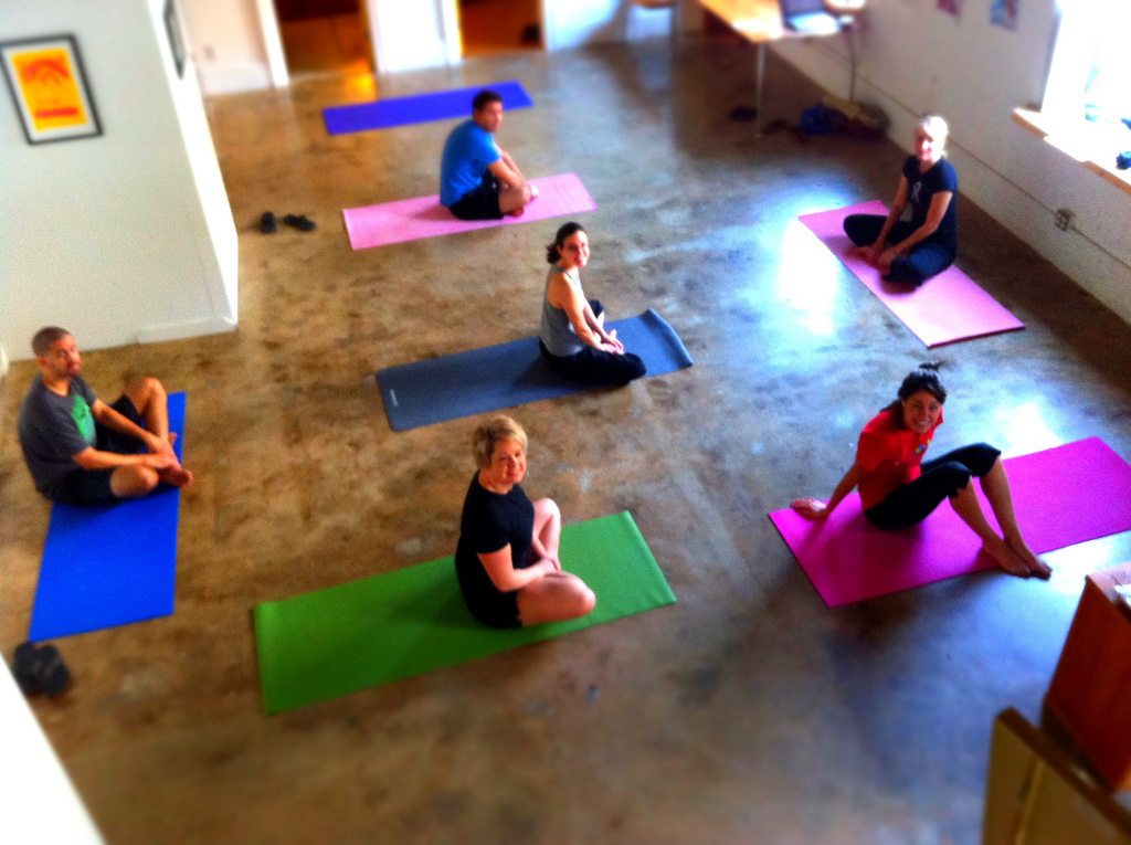 Yoga practitioners at a studio in Raleigh, NC.