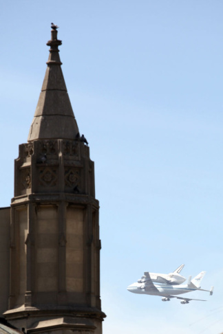 NASA Space Shuttle Endeavour flies past First Congregational Church of Los Angeles (FCCLA).