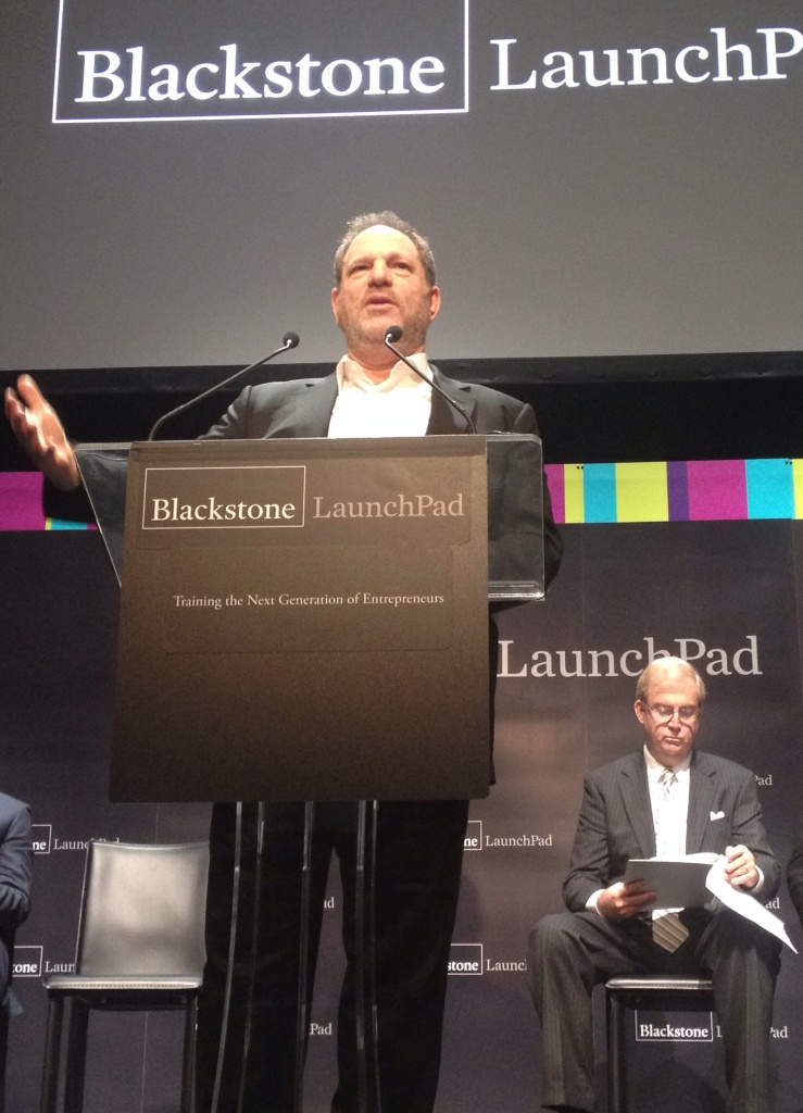 """I've had successes and failures,and taking chances and ambition has played a big part in all of it"" said Harvey Weinstein at the announcement of Blackstone's Launchpad program for entrepreneurs in college. ""I think there's nothing more important that mentorship."""