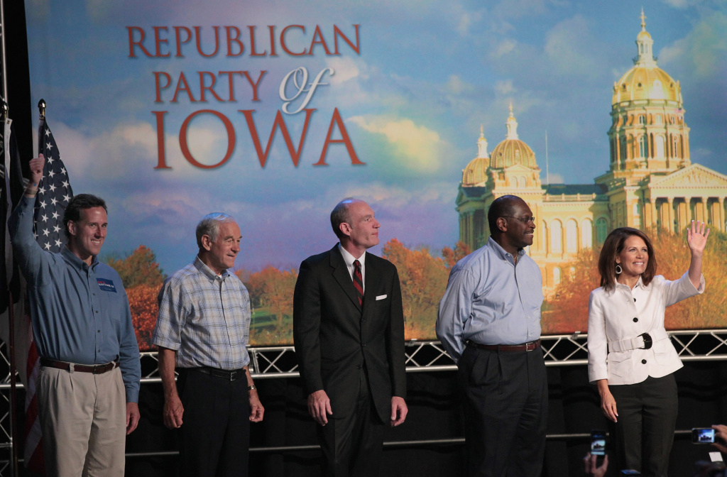 Republican presidential candidate pose for a picture at the Iowa Straw Poll at Iowa State University August 13, 2011 in Ames, Iowa.