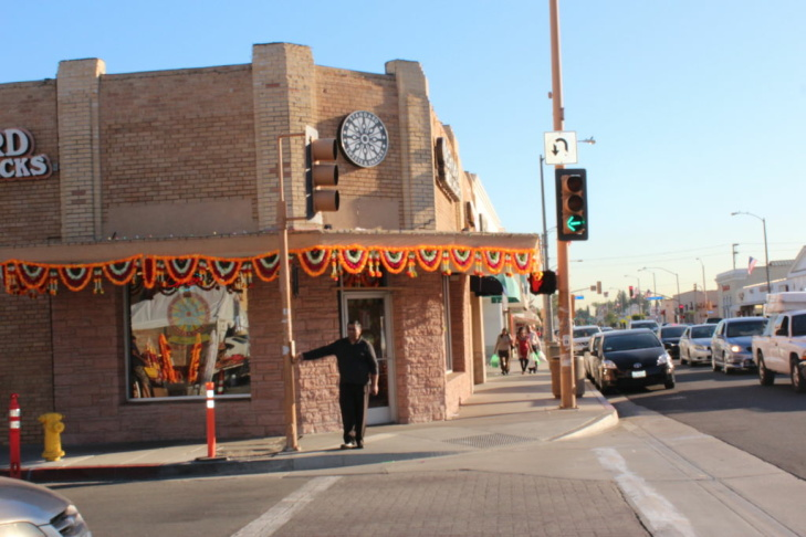 Statues of Krishna, Ganesha and other deities adorn the altar at the Pasadena Hindu Temple.