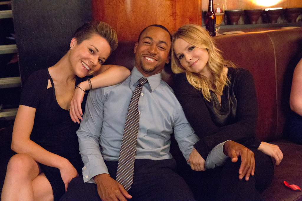Cast members Tina Majorino, Percy Daggs III and Kristen Bell on the set of