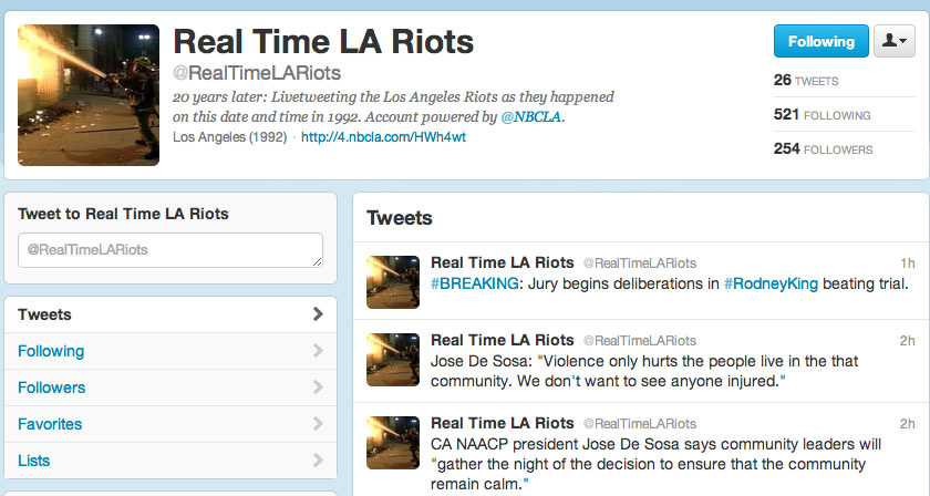 Real Time LA Riots Twitter account by NBCLA