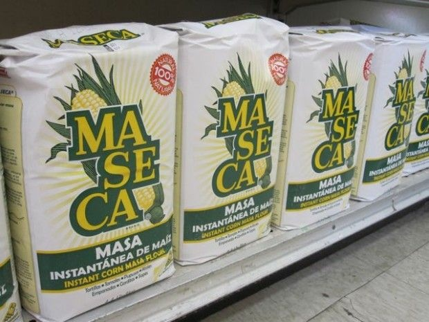 Dry masa mix on the shelf in a Westlake grocery store, November 2010