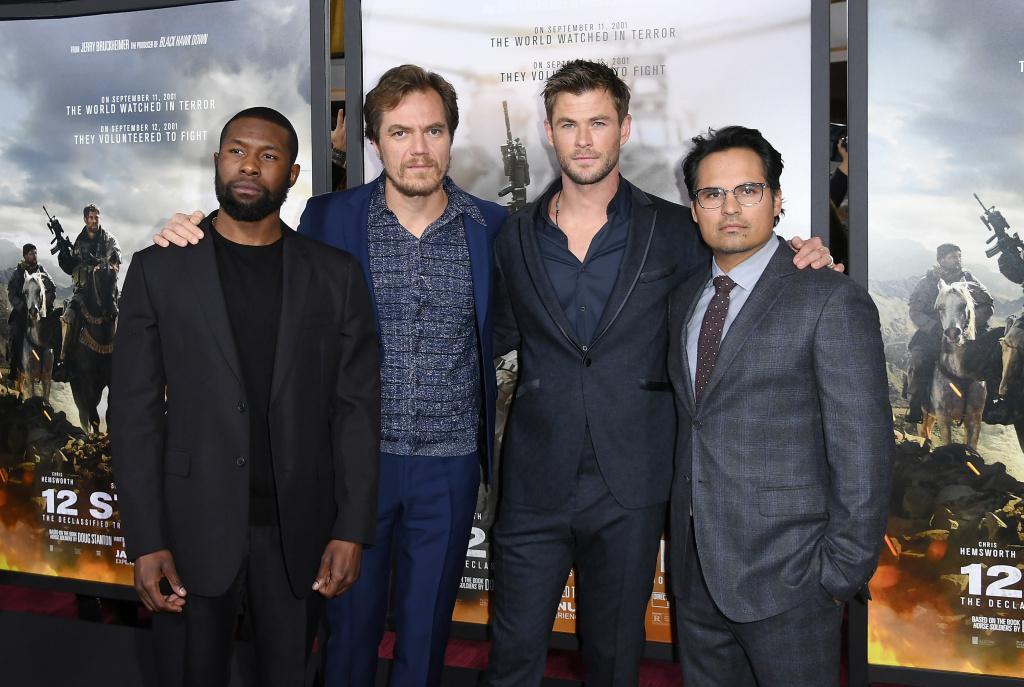 (L-R) Trevante Rhodes, Michael Shannon, Chris Hemsworth, and Michael Pena attend the world premiere of