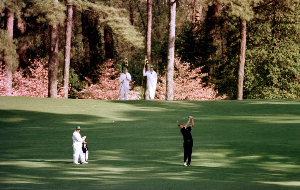 Gordon Sherry of Scotland plays his second shoot on the 2nd fairway during the second round of the 1996 Masters at the Augusta national Golf Club, Georgia.