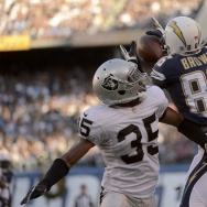 SAN DIEGO, CA - DECEMBER 22:  Vincent Brown #86 of the San Diego Chargers goes up for the ball against Chimdi Chekwa #35 of the Oakland Raiders on December 22, 2013 at Qualcomm Stadium in San Diego, California. (Photo by Donald Miralle/Getty Images)