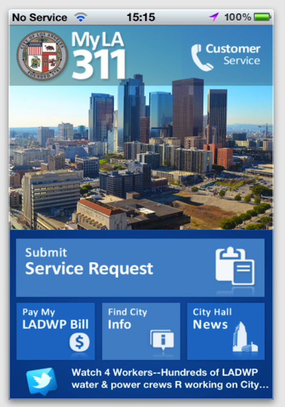 A screenshot of the new City of Los Angeles smartphone app for iPhones and Android devices.