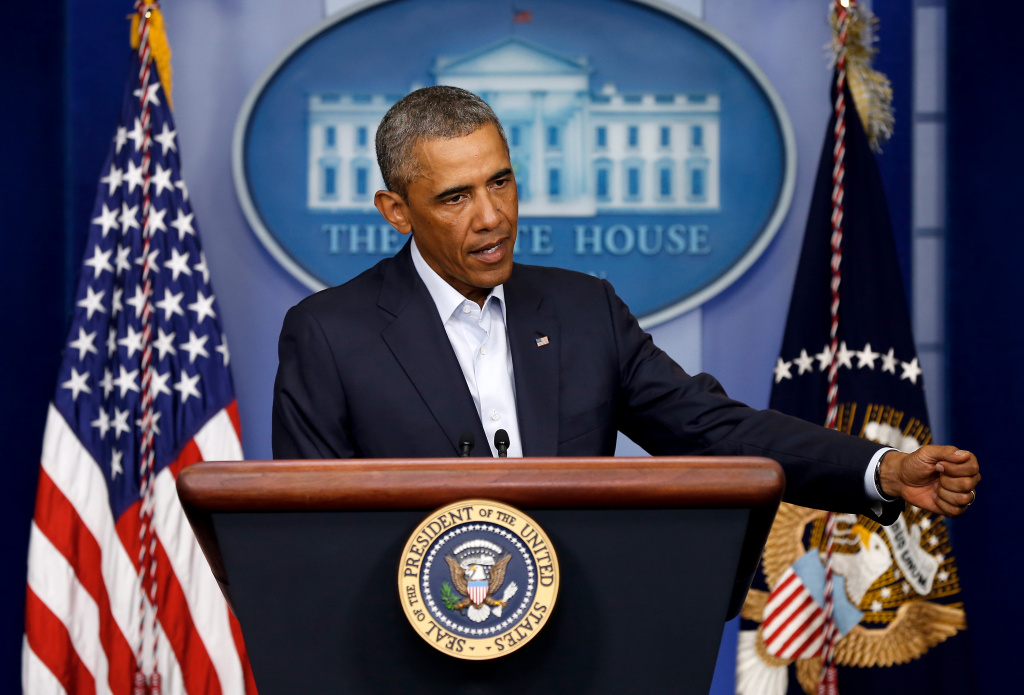 U.S. President Barack Obama gives a statement during a press conference in the Brady Press Briefing Room of the White House in this file photo taken August 18, 2014 in Washington, DC. Obama is scheduled Wednesday to deliver a primetime address spelling out his plan to combat militants from the Islamic State.