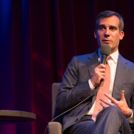 Los Angeles Mayor Eric Garcetti at KPCC's Crawford Family Forum in October. Garcetti and New York Mayor Bill de Blasio are leading a coalition of more than two dozen mayors in support of President Obama's recent immigration order; on Monday, the coalition filed a brief in support of the order in Texas vs. United States, a multi-state lawsuit that aims to block the order from taking effect.