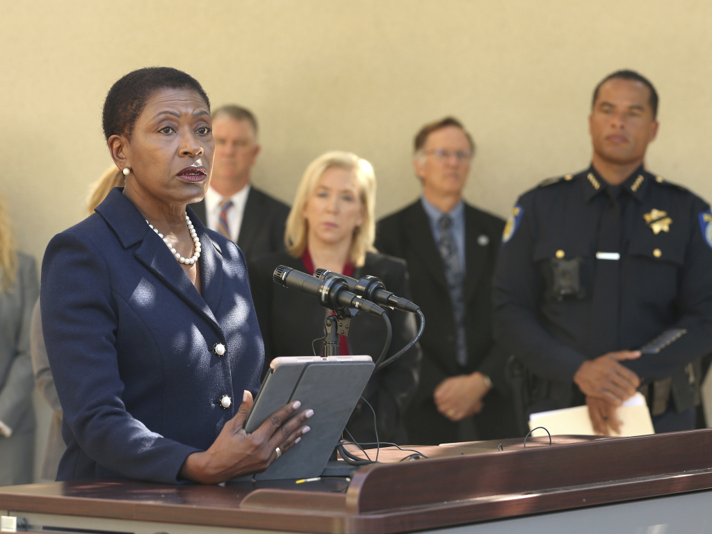 Contra Costa County District Attorney Diana Becton, during a 2018 press conference. She and other prosecutors want DAs to reconsider taking campaign money from police unions.