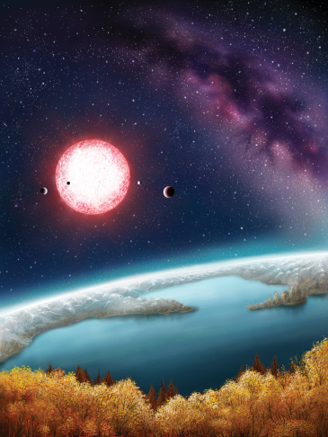 Kepler-186f is the outermost planet in a five-planet system about 500 light-years from Earth in the constellation Cygnus. These planets orbit a star classified as a M1 dwarf, measuring half the size and mass of the sun. This image is an artists depiction of what the planet might look like.