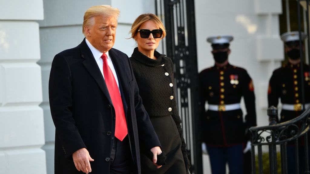 Former President Donald Trump and Melania Trump leave the White House on Jan. 20, President Biden's Inauguration Day. Trump is facing an impeachment trial in the Senate this week.