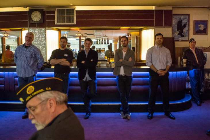 Veterans, including the founders of Veterans in Film and Television, listen to a speaker at an American Legion post in Hollywood.