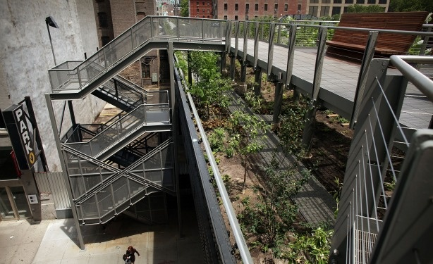 "Los Angeles officials are pushing to create ""parklets"" in urban spaces. This concept is seen magnified in the High Line park in New York City. The High Line was formerly an elevated railway 30 feet above the city's West Side and has been turned into a public park and garden."