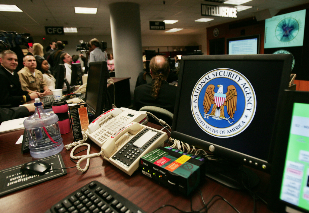 A computer workstation bears the National Security Agency (NSA) logo inside the Threat Operations Center inside the Washington suburb of Fort Meade, Maryland, intelligence gathering operation Jan. 25, 2006.
