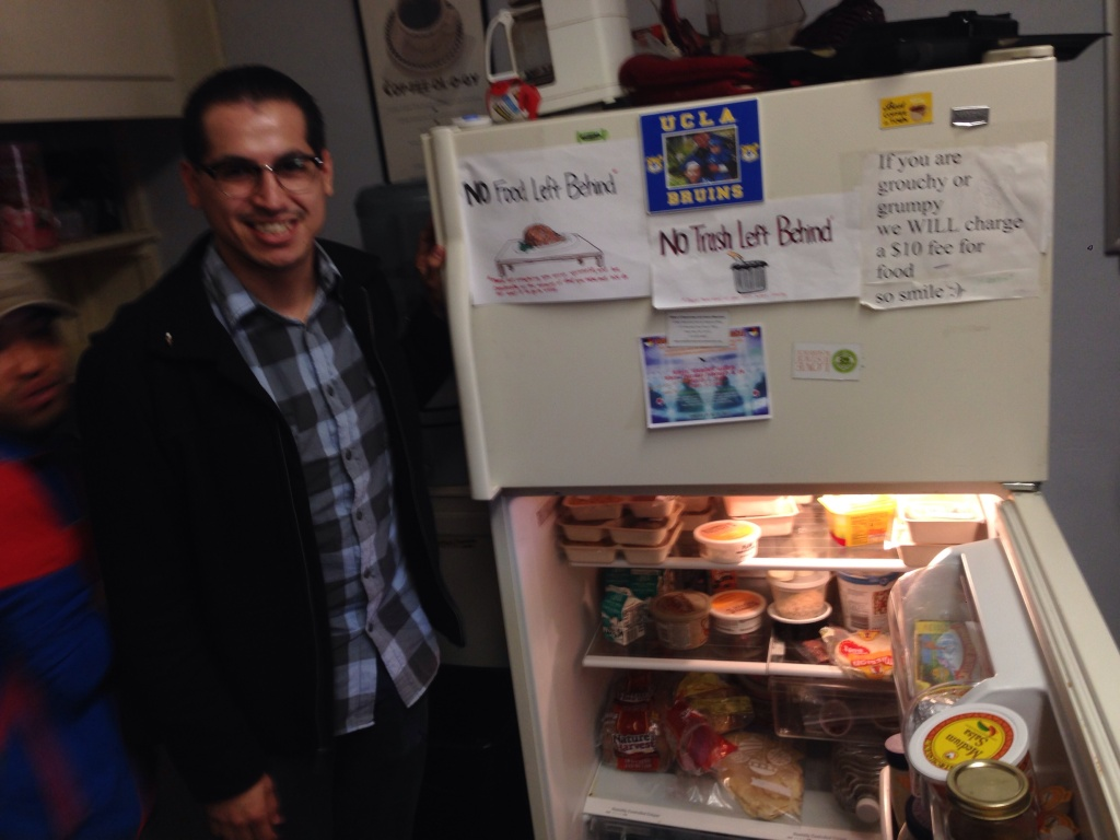 UCLA graduate student Diego Ramirez is one of hundreds of students who stop by 580 Cafe for free food.