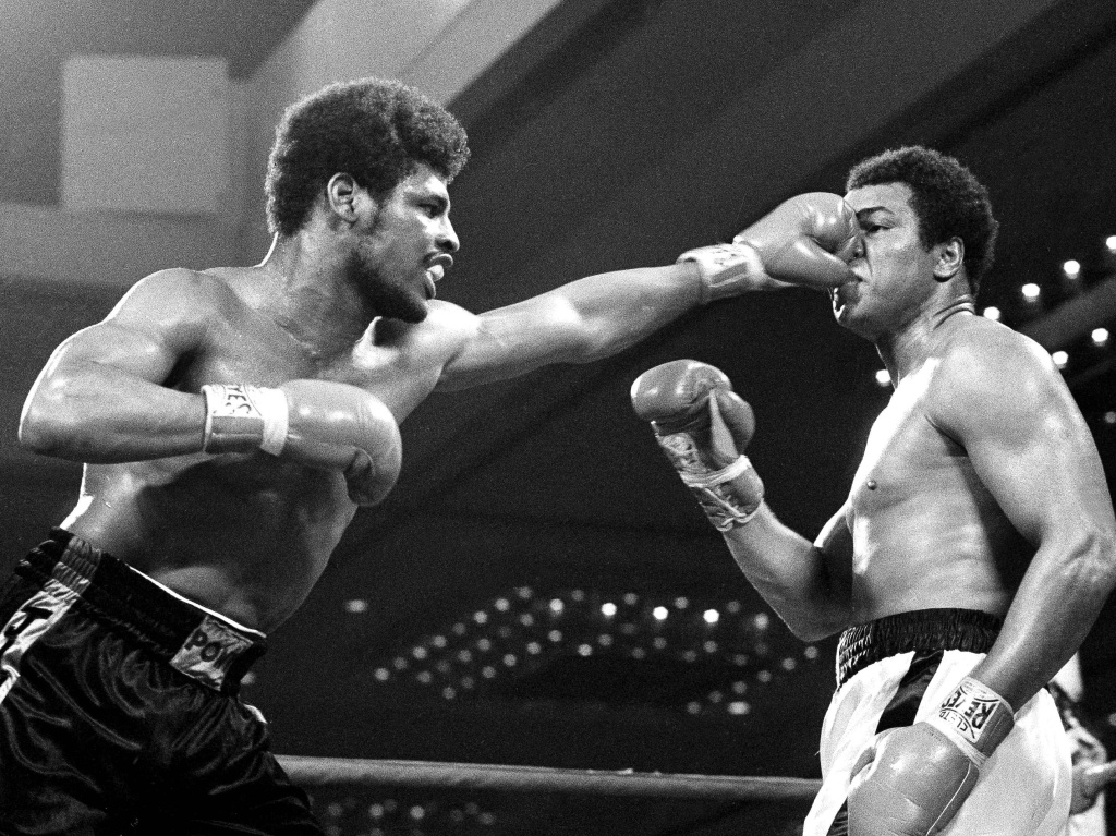 Leon Spinks lands a punch on Muhammad Ali in the title fight in Las Vegas on Feb. 15, 1978. Spinks beat Ali to claim the heavyweight championship and shock the boxing world.