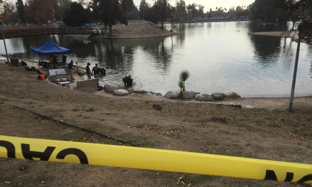 The lake at Seccombe Lake Park, which the FBI was searching for evidence related to the San Bernardino shooting on Thursday, Dec. 10, 2015.